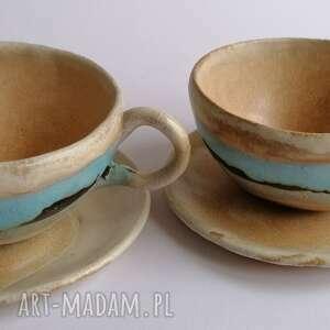 ceramika komplet kawowy z widokiem na morze, rękodzieło
