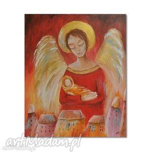 anioł od dzieci, obraz na indywidualne zamówienie dla pani, anioł