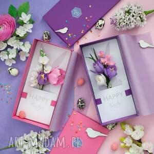 Prezent HAPPY EASTER 3D , świetna, kwiaty, papier