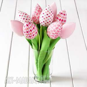 tulipany jasno różowy bawełniany bukiet - tulipany, kwiaty, bukiet, dekoracja