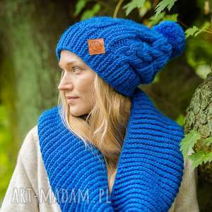 business instinct bluestone, jesień, zima, czapka, włóczka, niebieska, zimowa