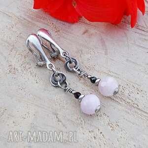 Różowe kule kunzytu - klipsy jewelsbykt srebrna biżuteria