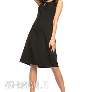 Elegancka sukienka taliowana z tkaniny bez rękawów, T264, czarny kolorowa lamówka