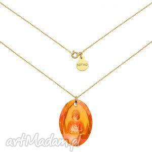 długi złoty naszyjnik z pomarańczowym opalizującym buddą