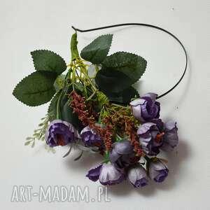 handmade ozdoby do włosów róże fioletowe