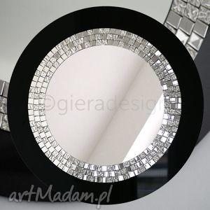 Lustro dekoracyjne w czarnej ramie Glamour, lustro, łazienkowe,