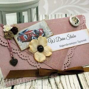 Prezent kopertówka ślubna - retro romantyczna, ślub, wesele, kartka, samochód, kwiaty
