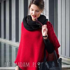 hermina ponczo czerwone z warkoczem, ponczo, poncho, wełna, warkocz, oryginalny