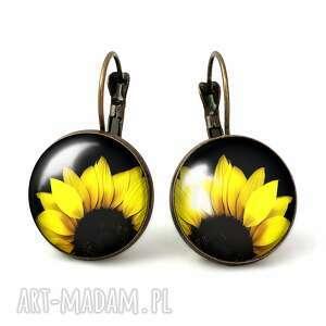 słoneczniki - duże kolczyki wiszące egginegg, kwiatowe prezent