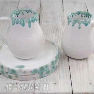 zestaw śniadaniowy/deserowy dla dwojga, prezent, prezent ślubny, ceramika