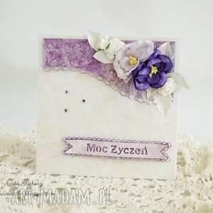 kartka urodzinowa - fioletowa, z pudełkiem - kartka, kartka-urodzinowa