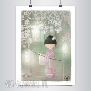 lapatiq - Kokeshi: Sakura Grafika B2, dom, kokeshi, różowy, grafika, wiosna
