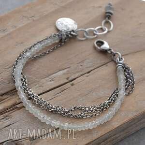 handmade surowa srebrna bransoletka z kamieniem księżycowym cejlonu