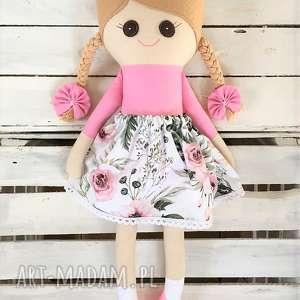 lalki szmacianka, szmaciana laleczka w róże, szmaciana, szyta, lalka
