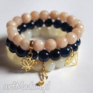 bransoleta real gold lotus beige jade - zawieszka, charms, lotos, kwiat, jadeity, 925