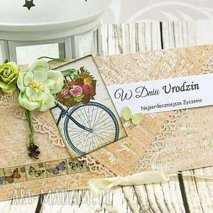 kopertówka urodzinowa -kwiatowy rower, kartka, urodzinowa, kopertówka, kwiaty