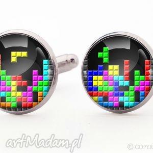 tetris 0904 - spinki do mankietów - tetris, geek, retro, spinki, mankietów, gracz
