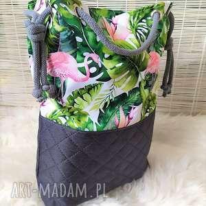 unikalny, torba worek we flamingi, torba, torebka, plażowa, wakacje, spacery