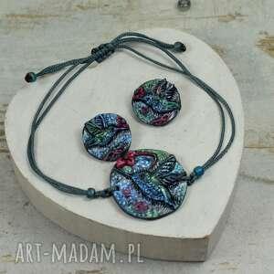 komplet biżuterii koliber - sznurkowa bransoletka i kolczyki wkrętki