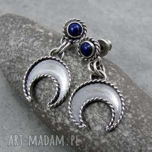 małe lunule do ucha z lapisem lazuli, boho, księżyc, lunula, słowiańskie