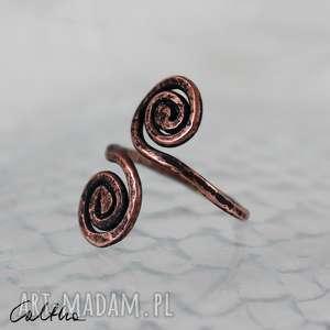 *Zawijasy - miedziany pierścionek , pierścionek, regulowany, uniwersalny, otwarty