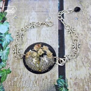 0560mela bransoletka kwiaty w żywicy czarno srebr, bransoletka, kwiaty, żywica