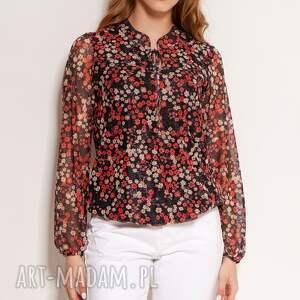 bluzka z siateczkowej tkaniny - blu150 czerwony, na lato, w kwiaty