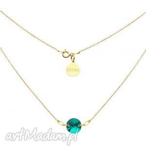 Złoty naszyjnik ze szmaragdowym kryształem swarovski® elements