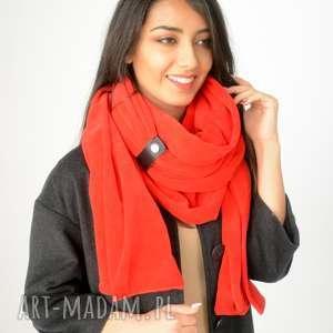gruby szal z weluru czerwony prezent - welur, bawełna, zapinka, dwustronny, długi