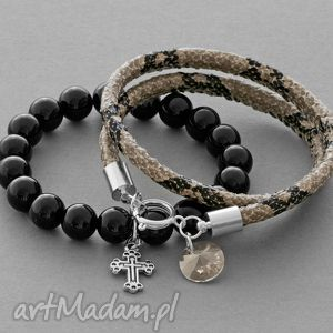 black jade & snake strap with pendants lavoga - wąż, rzemień