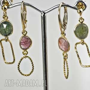 oryginalny prezent, turmalin zielony, turmalin, kolczyki z kamieniami