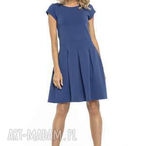 elegancka sukienka z zakłdkami, t254, chabrowy, sukienka, elegancka, dół