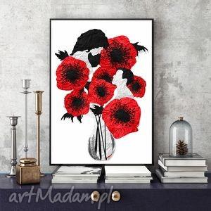 pośród maków - art print a4, ślub, maki, kwiaty, obraz, zakochani, a4 grafika dom