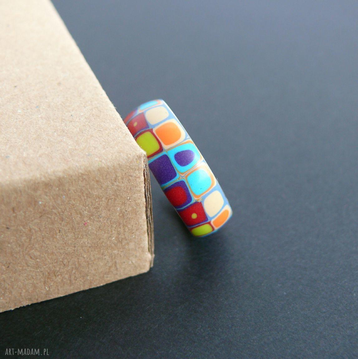 turkusowe obrączki kolorowe obrączka ze stali z polymer clay