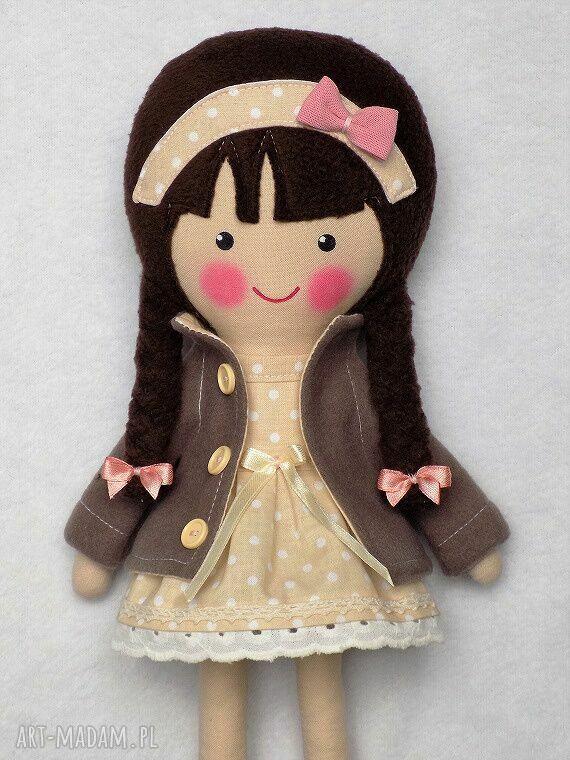 lalka lalki różowe malowana lala katarzyna z wełnianym