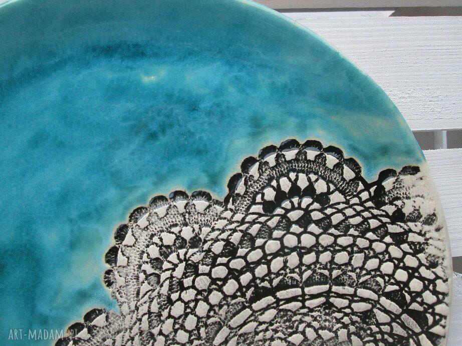 handmade ceramika patera turkusowa z koronką