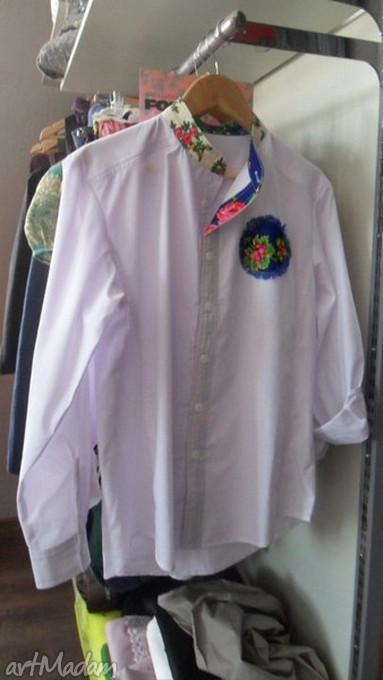 białe koszulki folk męska koszula design sygnowana