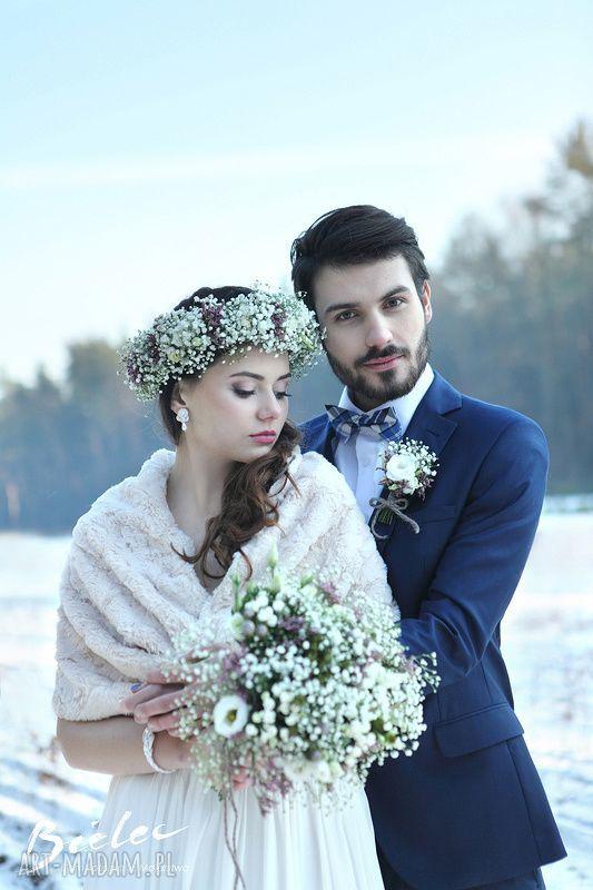 ręcznie zrobione ślub szal dwustronny bezowy
