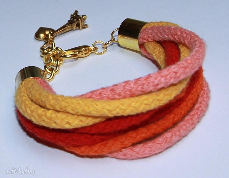 hand-made bransoletki kolorowa bransoletka ze sznurków bawełnianych