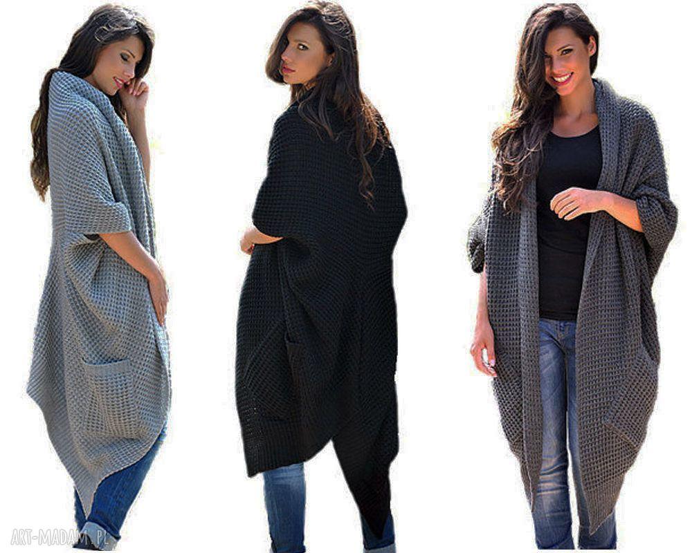 ręcznie wykonane płaszcze długi ciepły sweter-płaszcz
