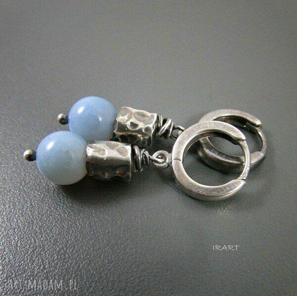 turkusowe kolczyki srebro z opalu niebieskiego