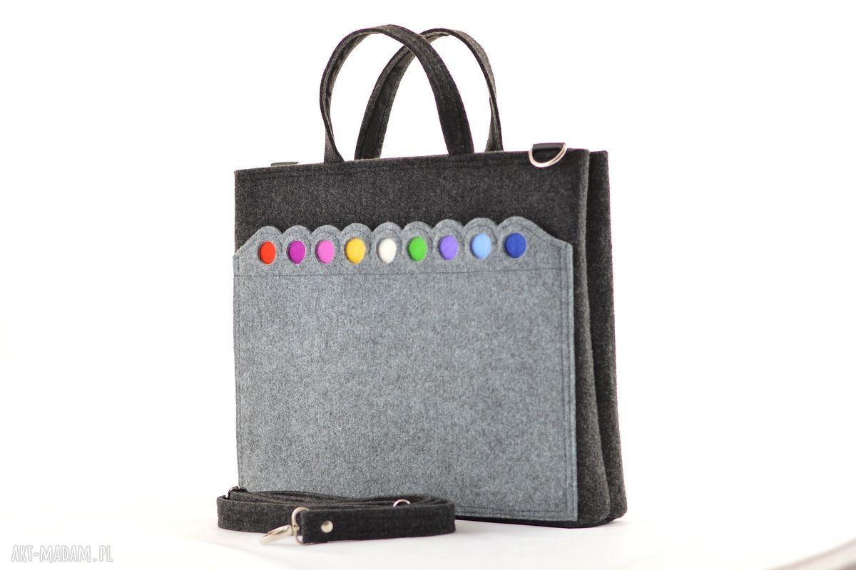 handmade na laptopa duża grafitowa torebka - laptopówka z kropkami