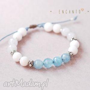 blue and white - kamienie, naturalne, jadeit, marmur, sznurek