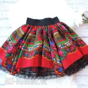 Damska czerwona spódnica góralska z chusty folk cleo, spódnica, folkowa, folk, ludowa