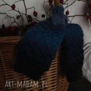 Mitenki ombre niebieskie rękawiczki jaga11 gwiazdki, druty