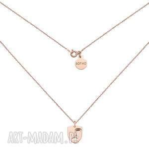 naszyjniki medalion z różowego złota face n6, łańcuszek, naszyjnik
