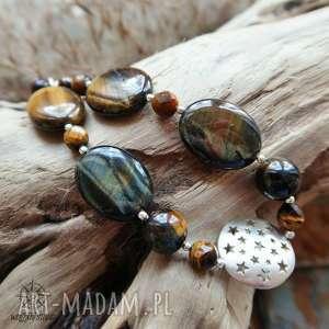 gwizdny tygrys - srebrna bransoletka z minerałami, tygrysie, oko, gwiazdy