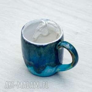 niebiesko-turkusowy duży kubek z koniem rękodzieło 420 ml, dla mamy
