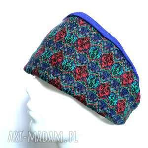 opaska damska szeroka we wzory etno boho handmade, opaska, etno, boho, kolorowa