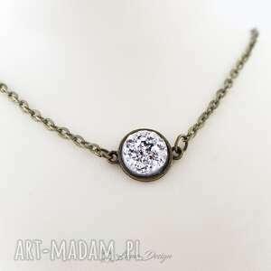 Prezent Naszyjnik srebrne druzy, naszyjnik, antyczny, vintage, prezent, krótki